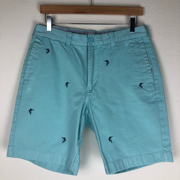 J. Crew Other - J. Crew Flat Front Aqua Blue Shorts Size 32